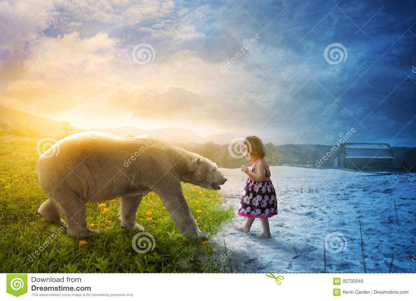Isbjörn och liten flicka