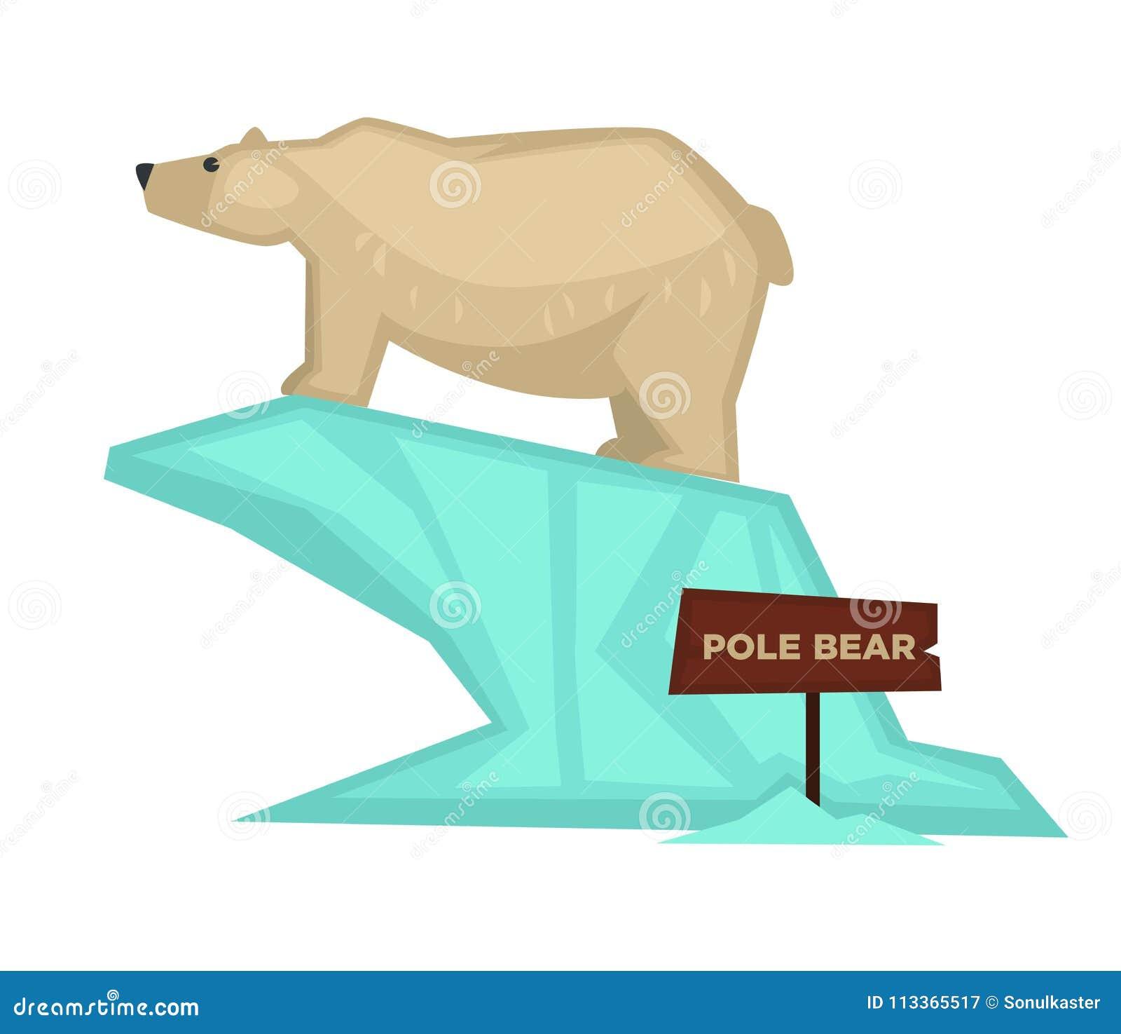 Isbjörnzoodjuret och den träsymbolen för skyltvektortecknad film för zoologiskt parkerar