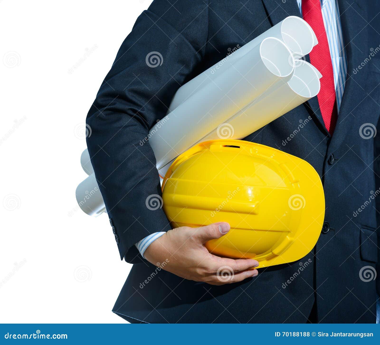 Iscensätta den gula hjälmen för arbetarsäkerhet med konstruktion pl
