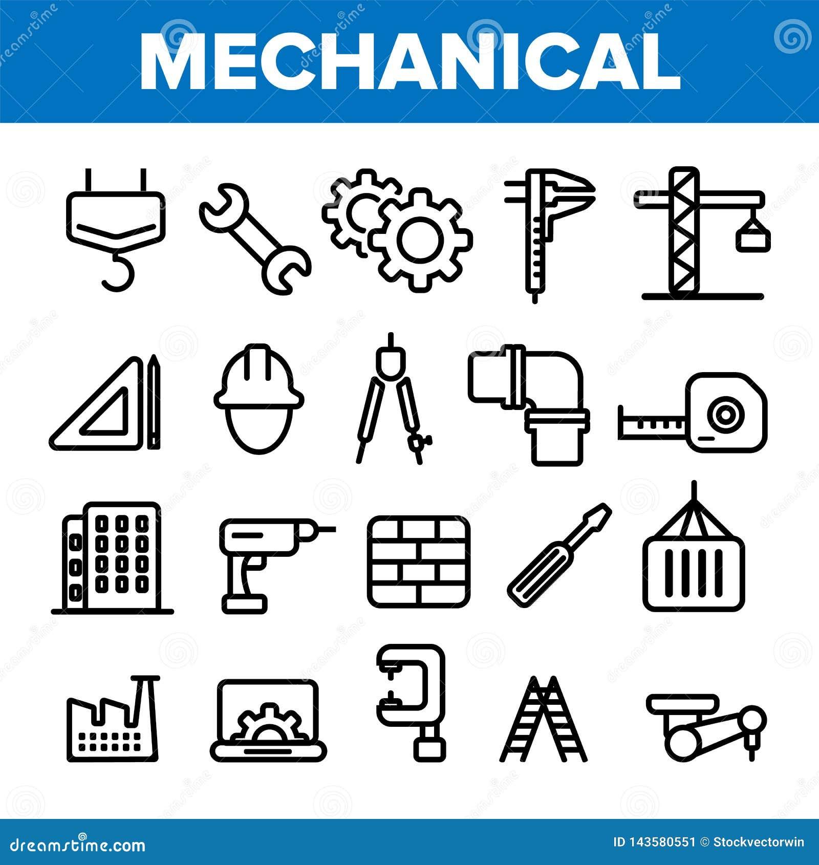 Iscensätta linjen fastställd vektor för symbol Tekniker Design Maskineritekniksymboler Industriell fabriksproduktion tunt