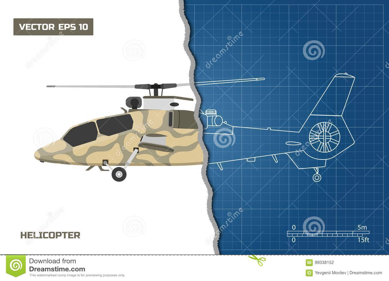 Iscensätta ritningen av den militära helikoptern Helikoptersikt: överkant, sida och framdel teckna som är industriellt