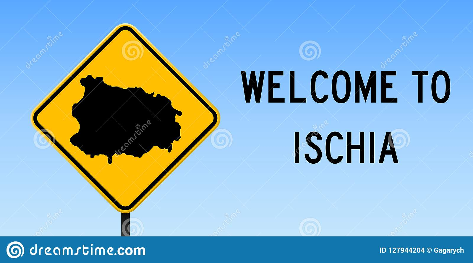 Ischia Map On Road Sign Stock Vector Illustration Of Italy