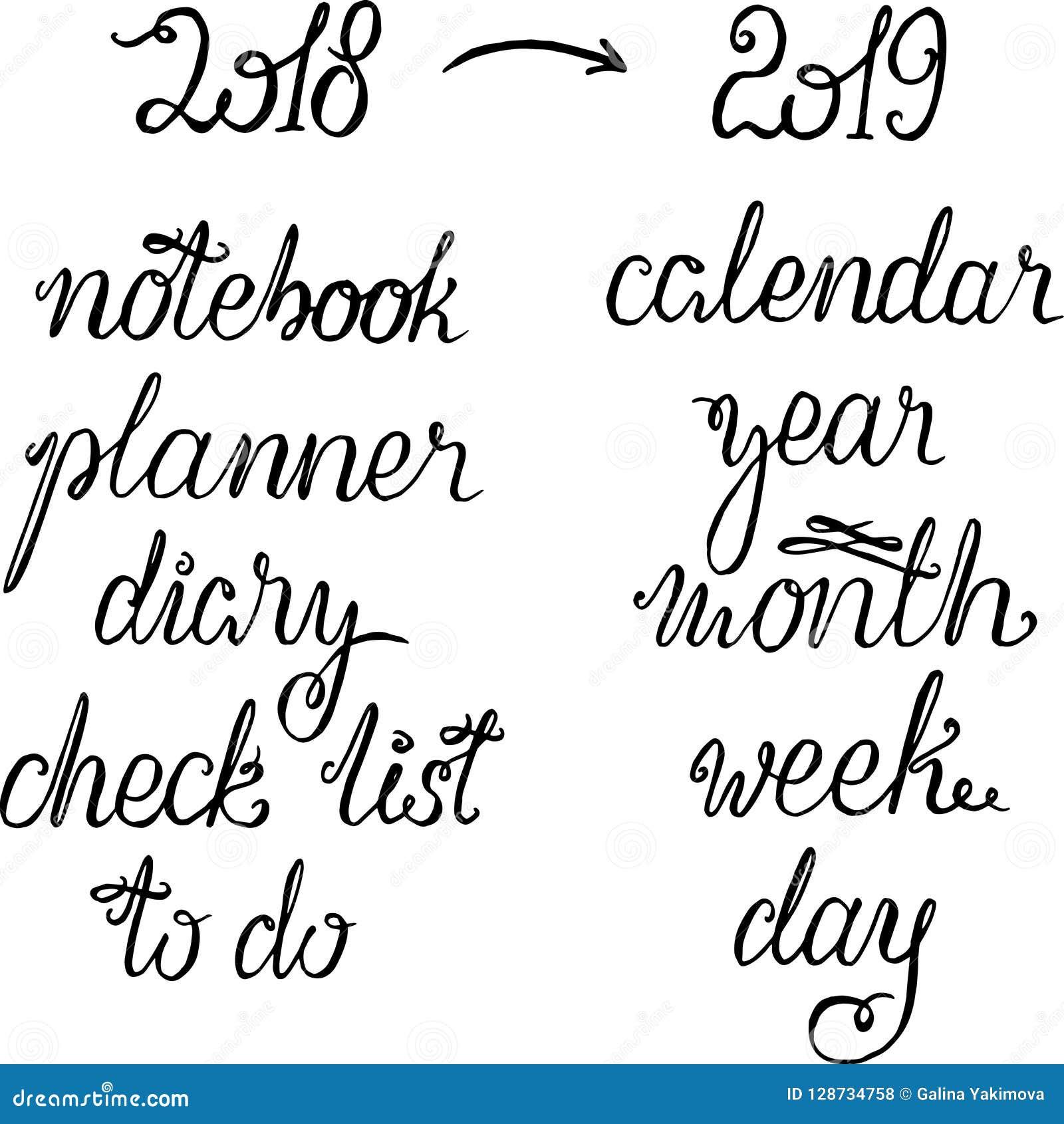 Iscrizione 2019 del nuovo anno per il calendario, il pianificatore o l organizzatore - il titolo, le parole per il titolo o la co