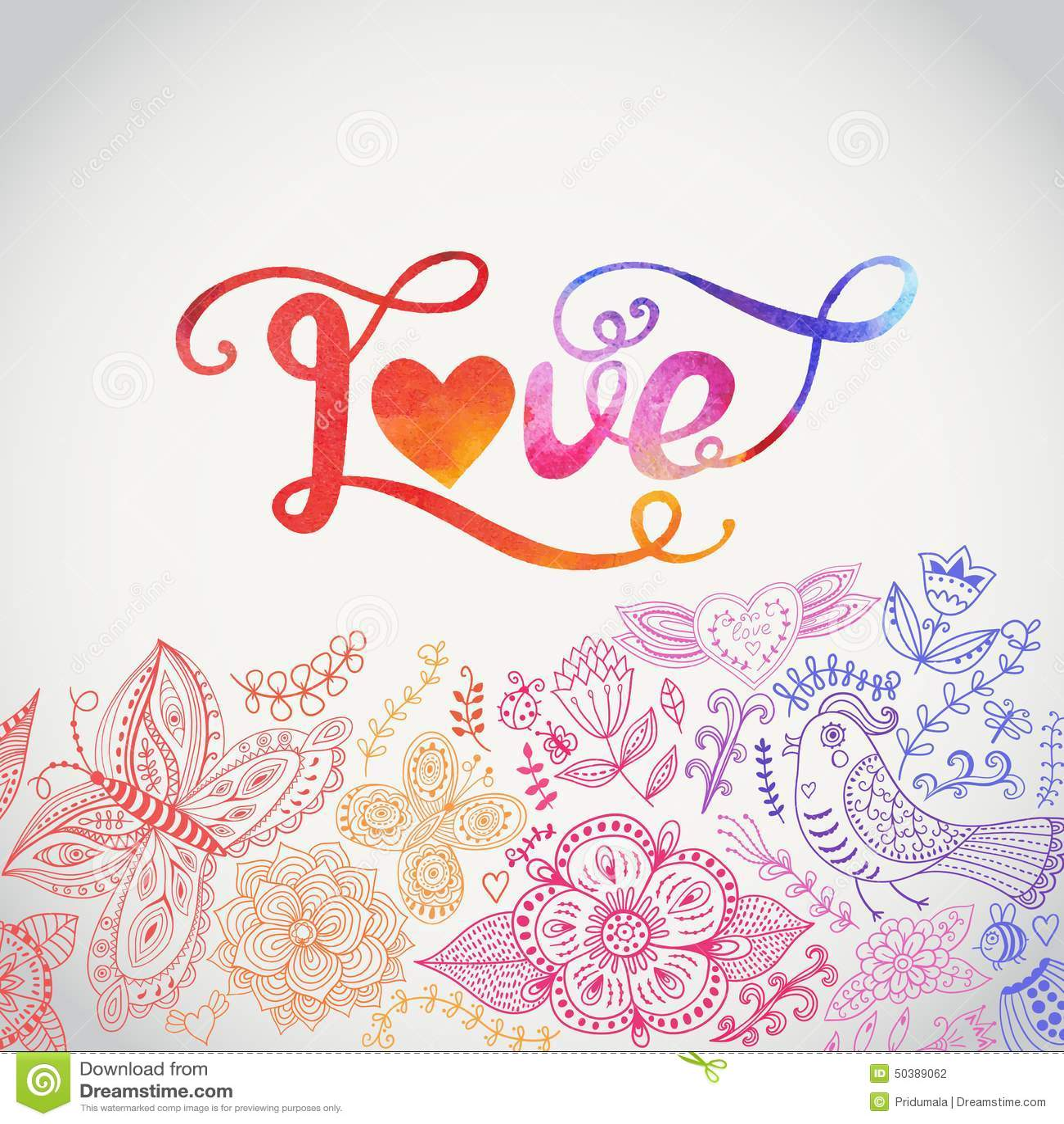 Decorazioni Lettere D Amore iscrizione dell'acquerello di vettore di amore l'acquerello