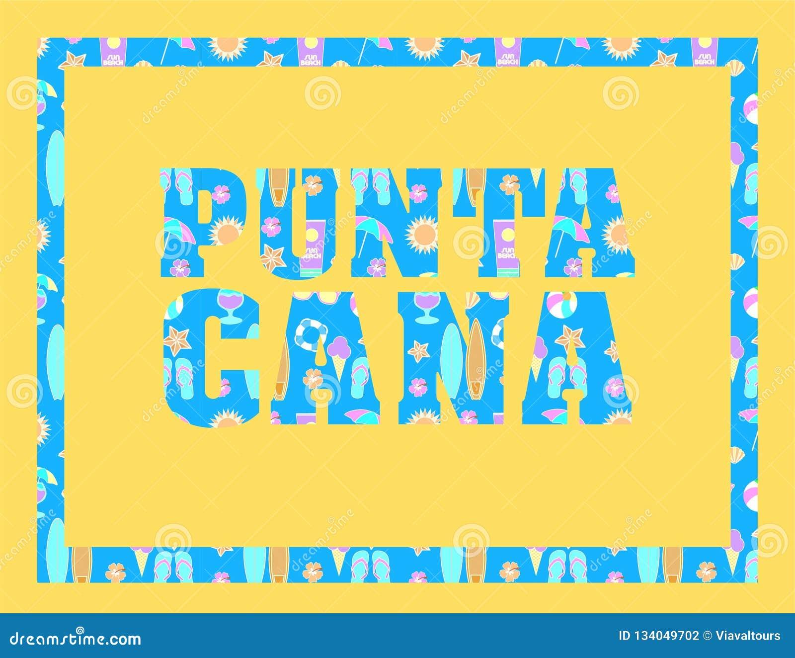 Iscrizione di Punta Cana sul backround giallo Lettere tropicali di vettore con le icone variopinte della spiaggia su backround bl