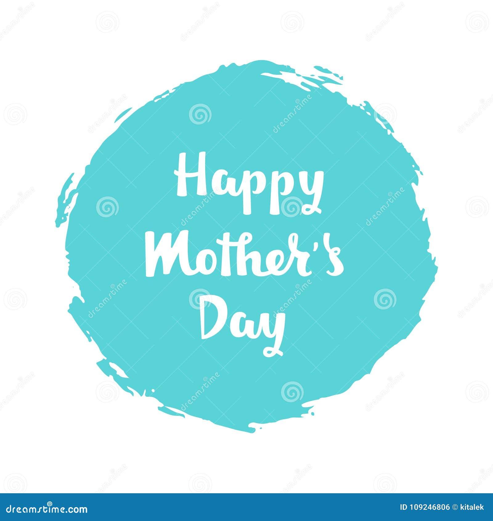 Iscrizione scritta a mano di buona Festa della Mamma sul fondo blu