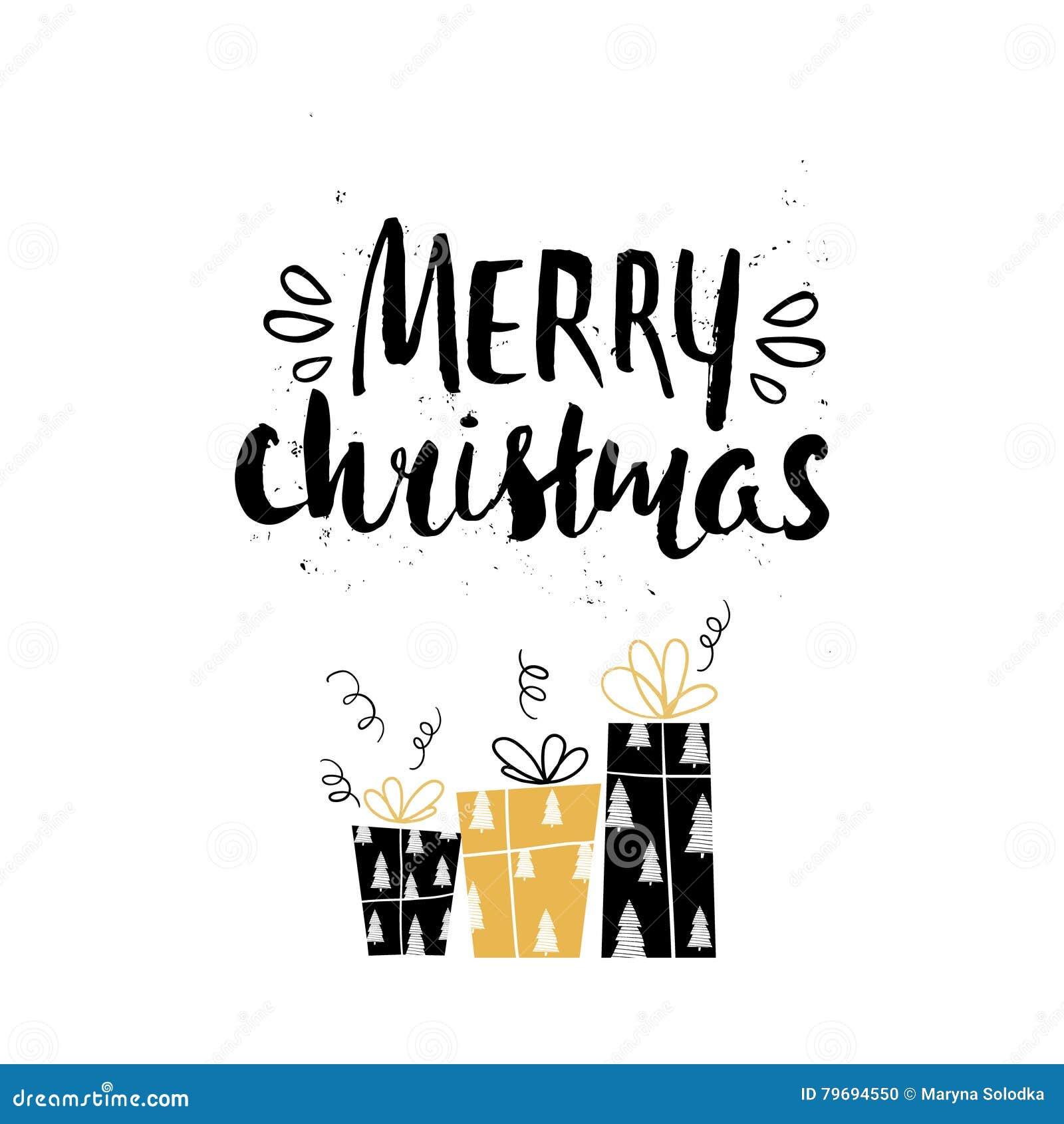 Immagini Con Scritte Di Buon Natale.Iscrizione Scritta A Mano E Regali Di Festa Unica Di Buon