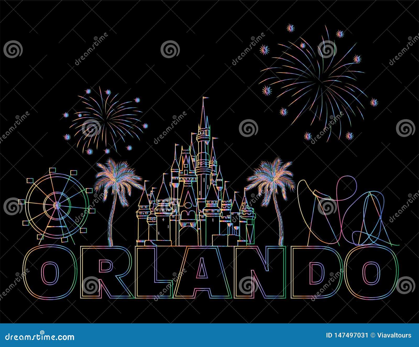 Iscrizione variopinta di Orlando sul backround nero E Cartolina di viaggio