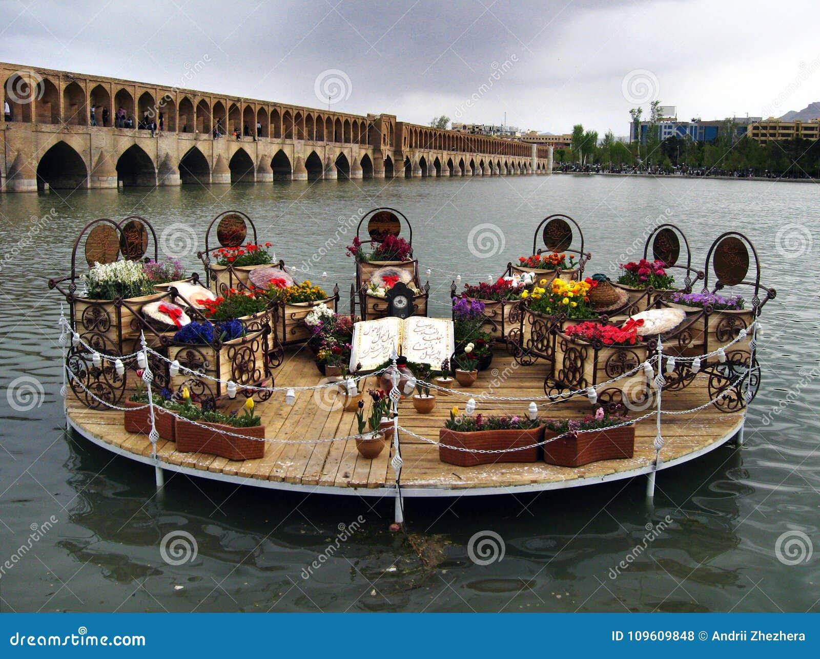 Decorative Haft Sin table in Isfahan, Iran