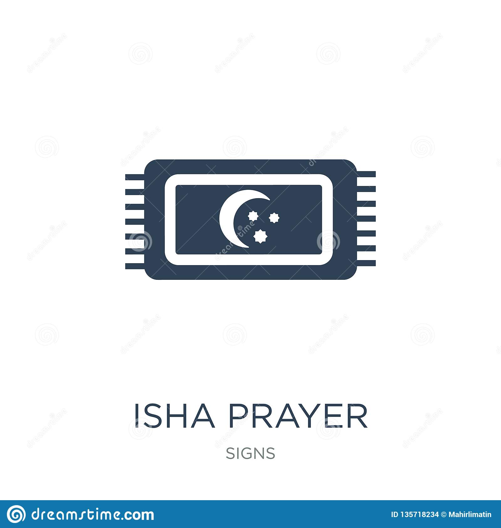 Isha Prayer Icon In Trendy Design Style  Isha Prayer Icon