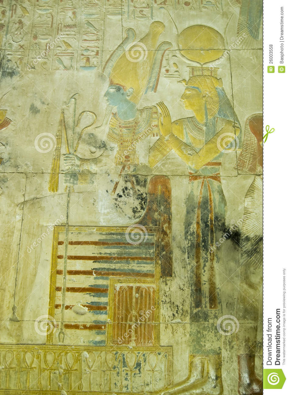 Isis And Osiris Ancient Carving, Abydos Stock Photo - Image of