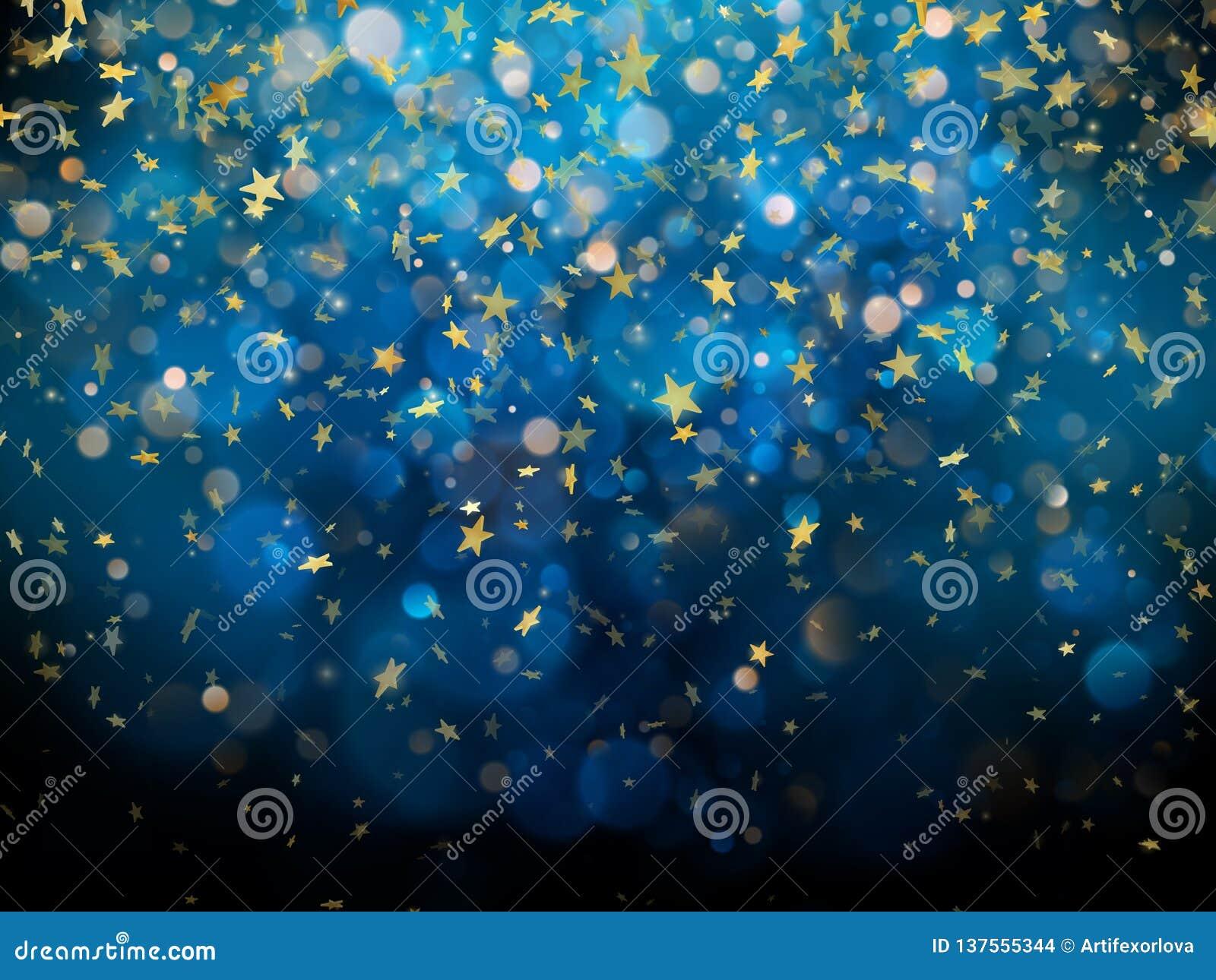 Iskrzastego złotego magicznego rozjarzonego pyłu Złoci boże narodzenia i nowy rok połyskuje gwiazdy na zmroku - błękitny bokeh tł