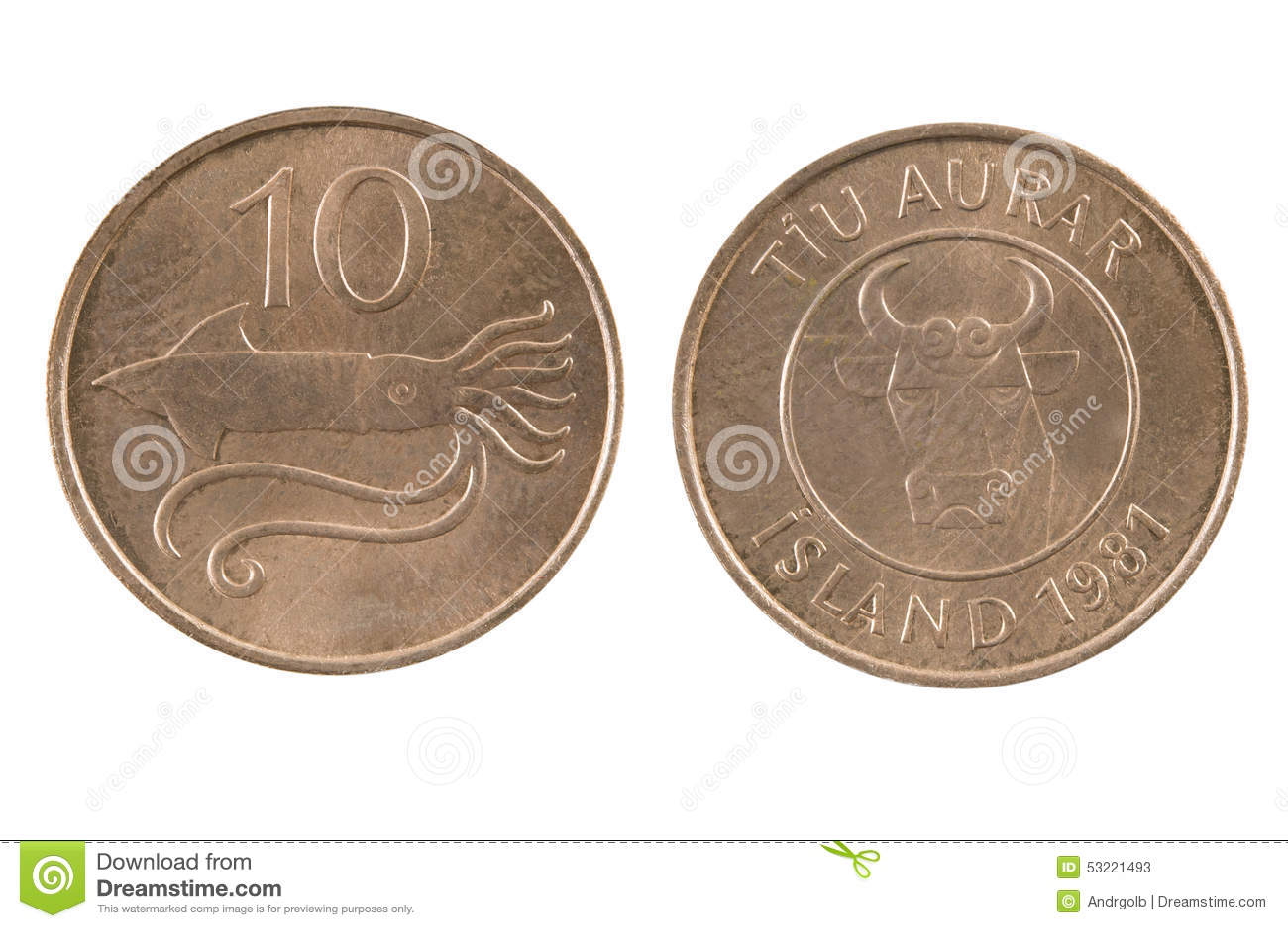 Isländische Münze Lokalisiert Auf Weißem Hintergrund Stockbild