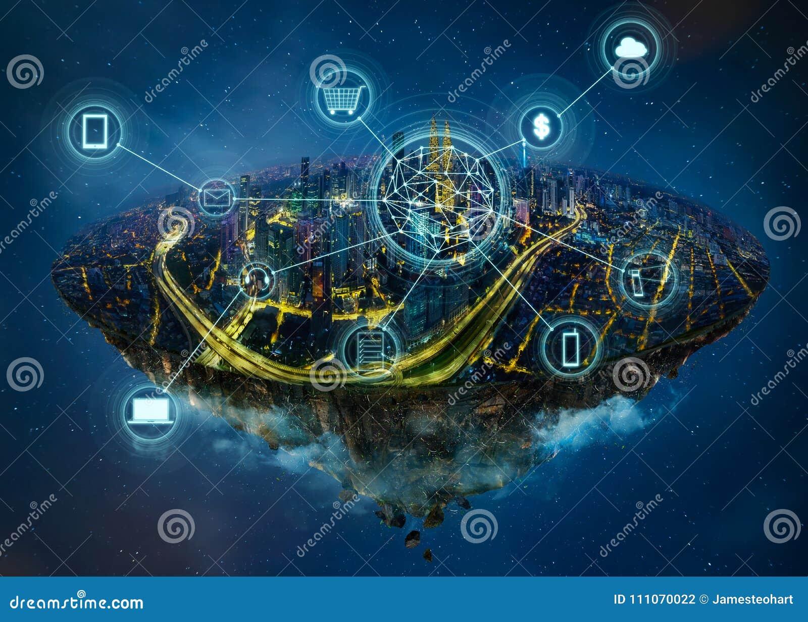 Isla de la fantasía que flota en el aire con la red de comunicaciones elegante de la ciudad y de la radio