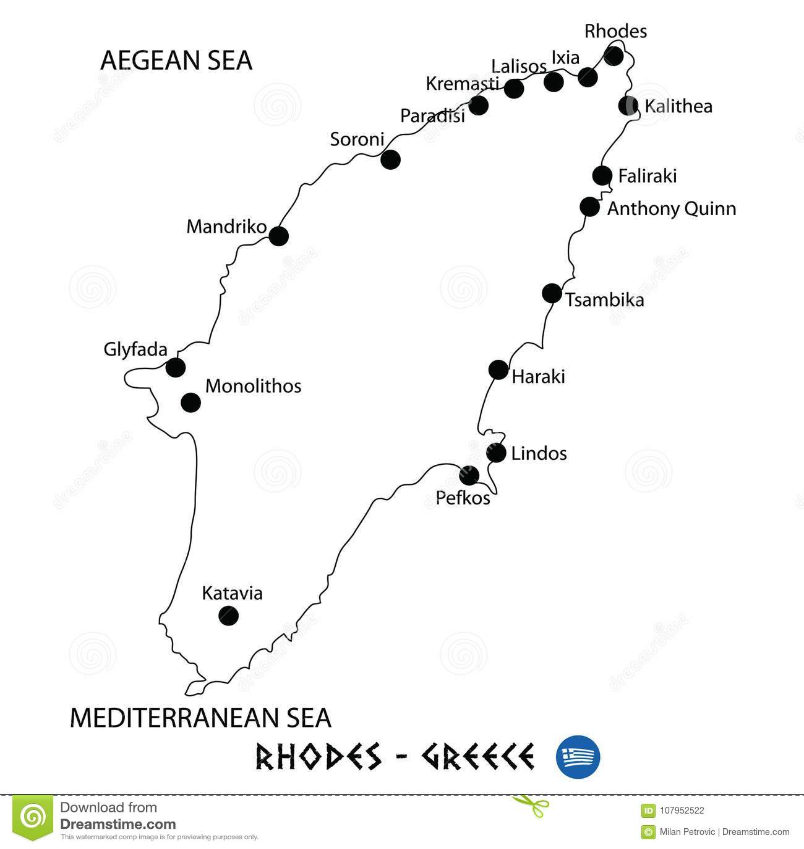 Isla De Rodas Mapa.Isla De Rodas En El Mapa De Grecia En El Fondo Blanco Stock