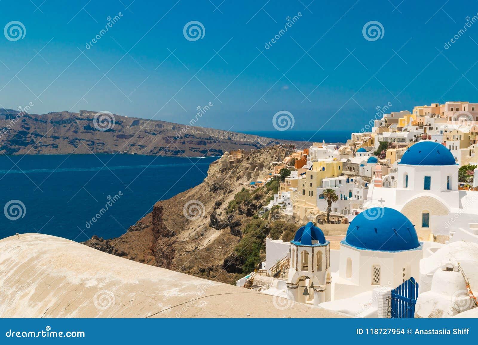 Isla de Santorini en Grecia Visión panorámica Destino turístico Verano