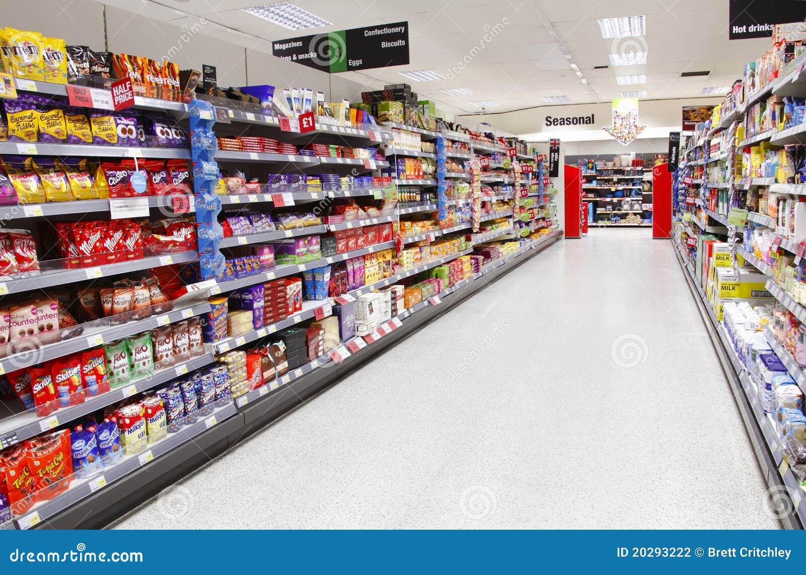 Isla del alimento del supermercado
