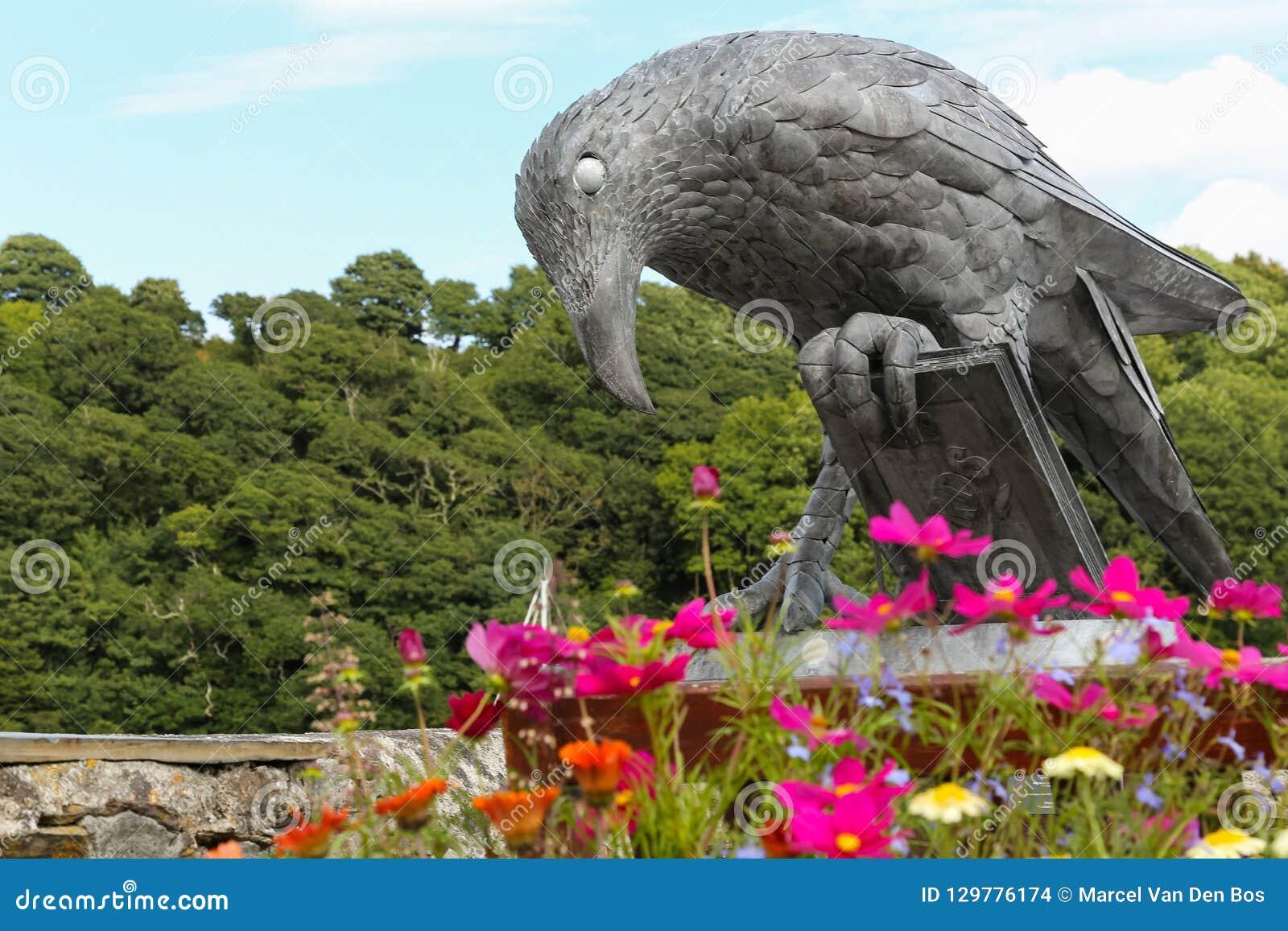 Isla - gralha com um livro - estátua Fowey do pássaro