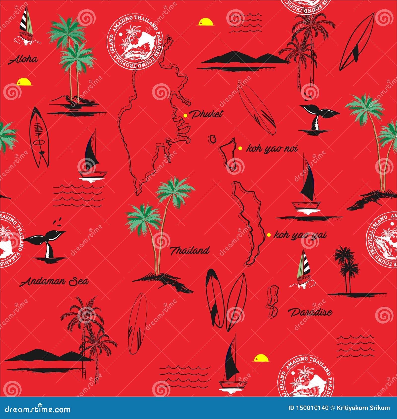 Isla hermosa de PHUKET en modelo inconsútil del paraíso de Tailandia del humor tropical, diseño para la moda, tela, web, papel pi