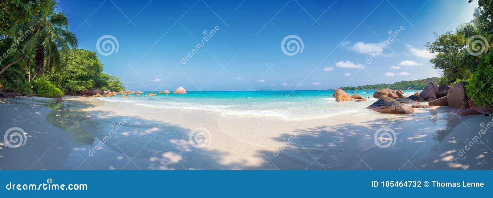 Isla Seychelles del praslin de la playa de Anse Lazio