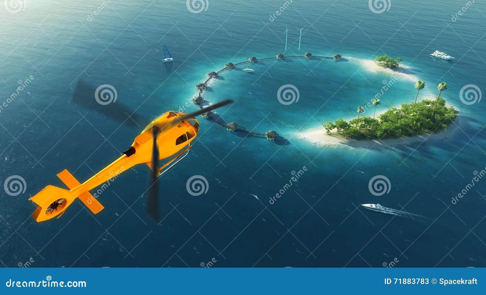 Isla tropical del verano Pequeño helicóptero que vuela a la isla tropical del paraíso privado con energía y casas de planta baja