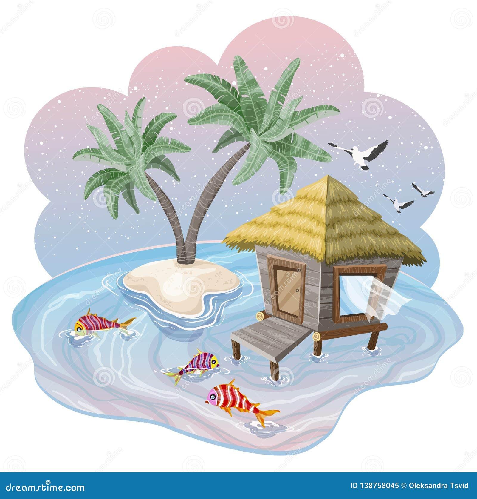 Isla tropical en el océano con las palmeras y la casa de planta baja en la puesta del sol hermosa