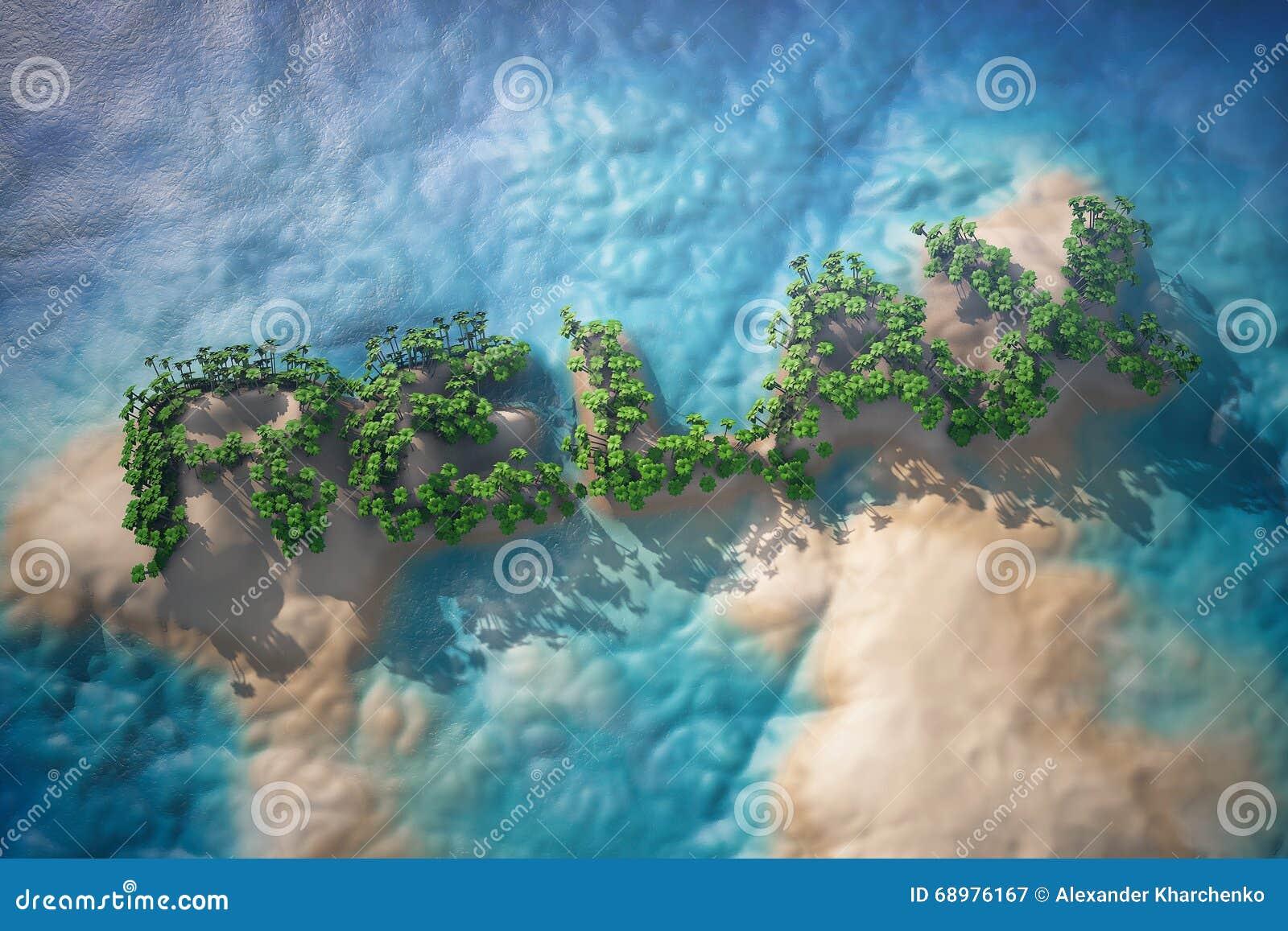 Isla tropical en el océano con los árboles como se relajan muestra