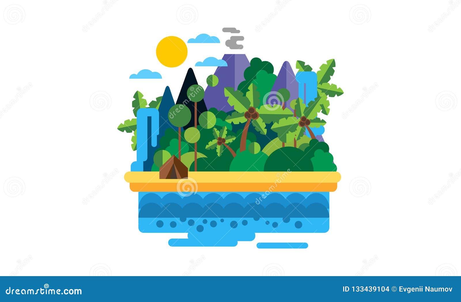 Isla tropical, paisaje hermoso con el ejemplo del vector del océano, de la playa, de las palmeras, del volcán y de la cascada
