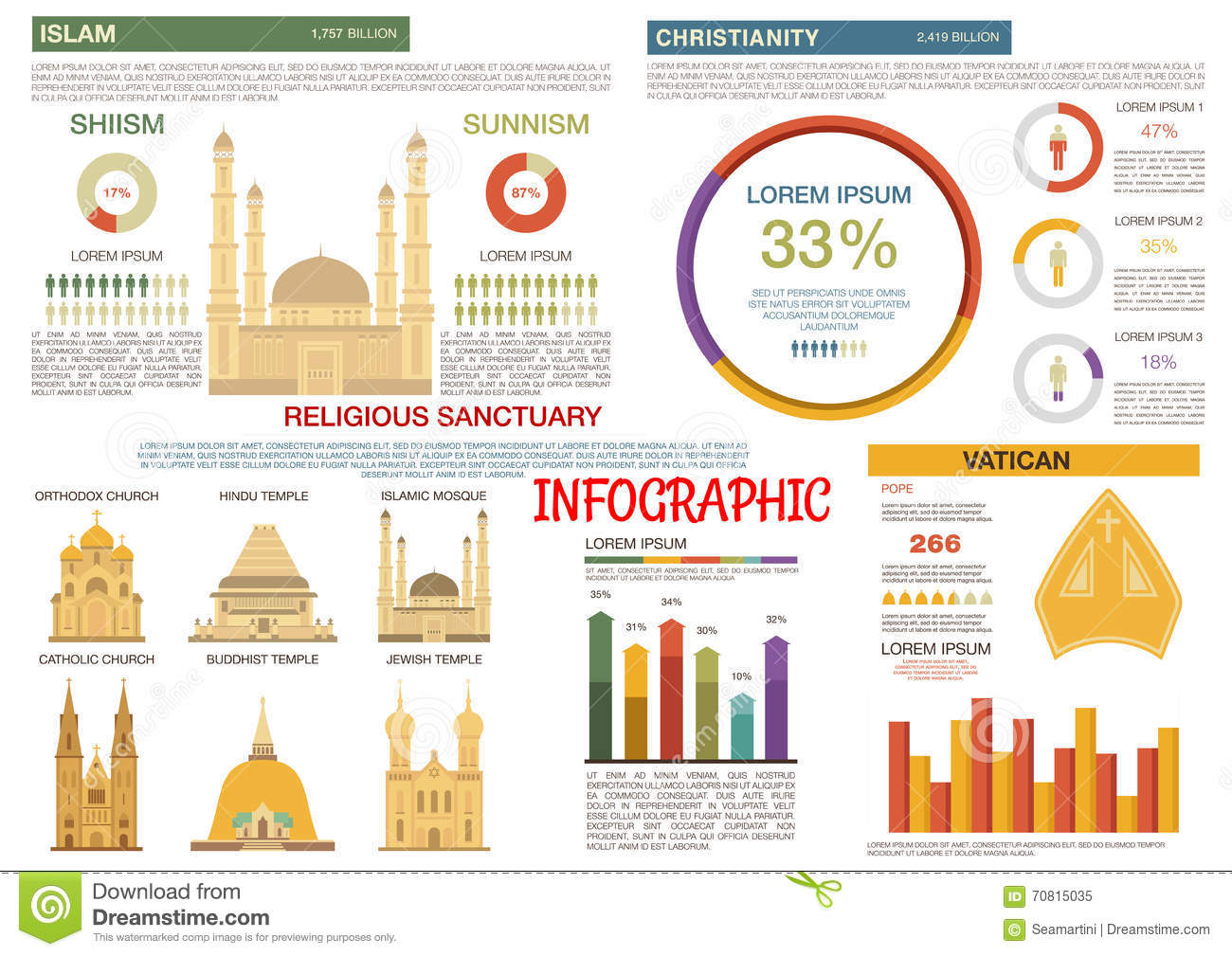 Islam And Christianity Religions Flat Infographic Stock Vector ...