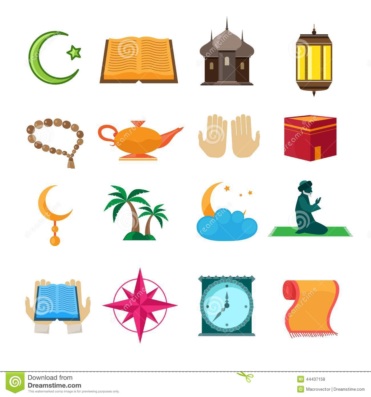 Islam Icons Set Black Stock Vector Illustration Of Hajj 44813421