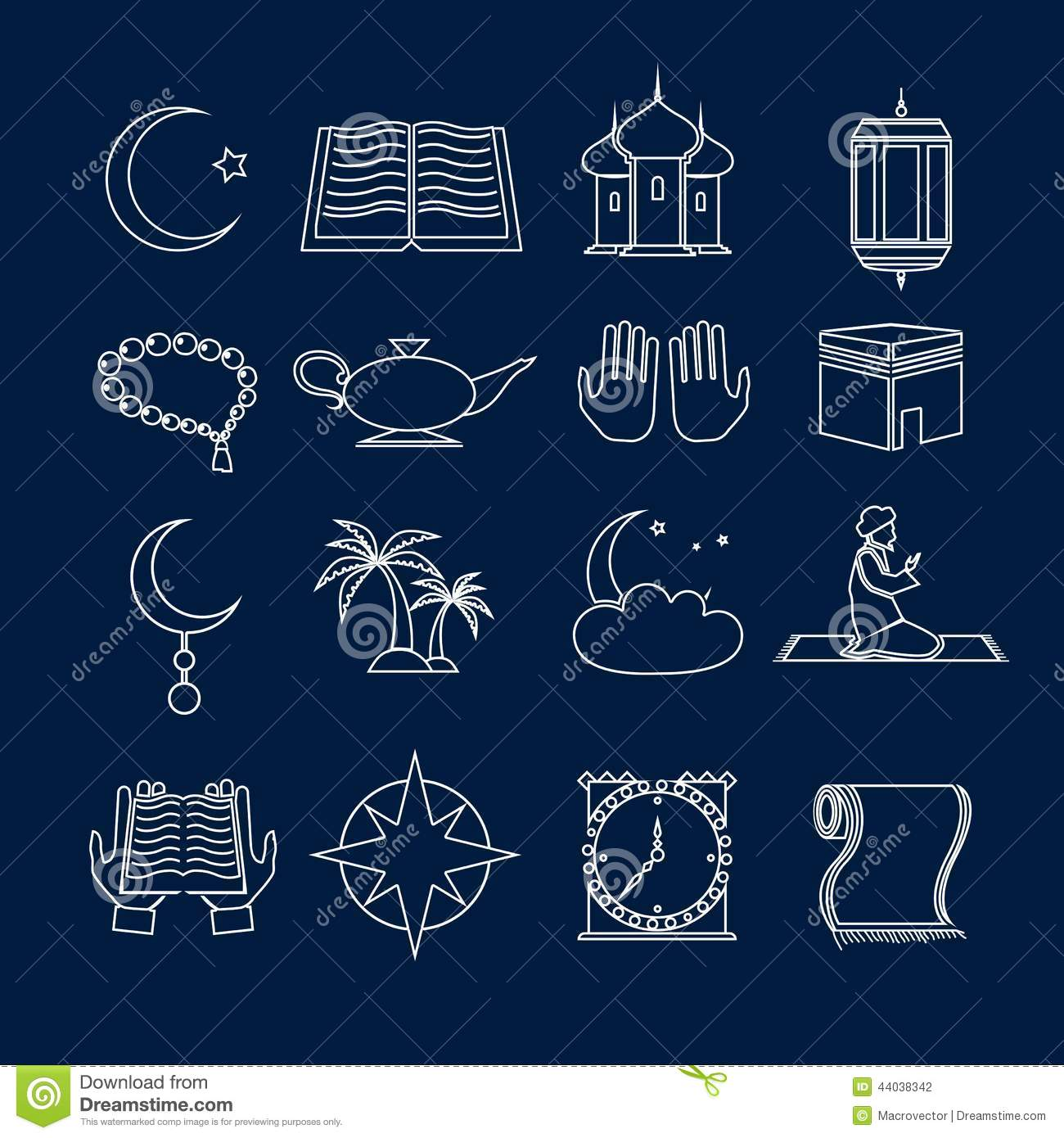 Islam icons set outline stock vector illustration of celebration islam icons set outline biocorpaavc