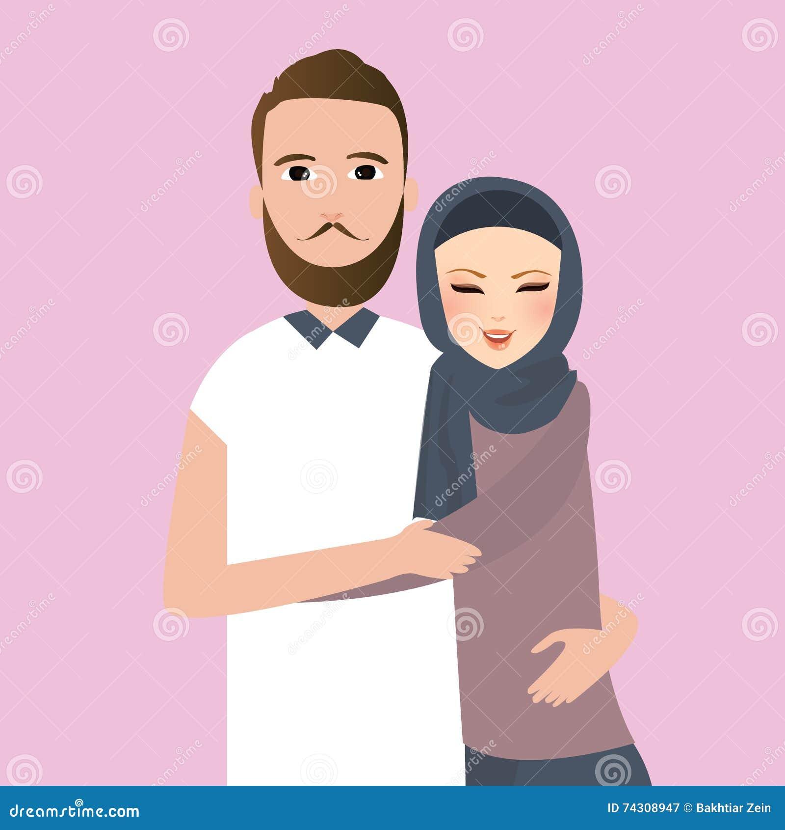 Islam pary żonatego mężczyzna kobiety odzieży przesłony szalik