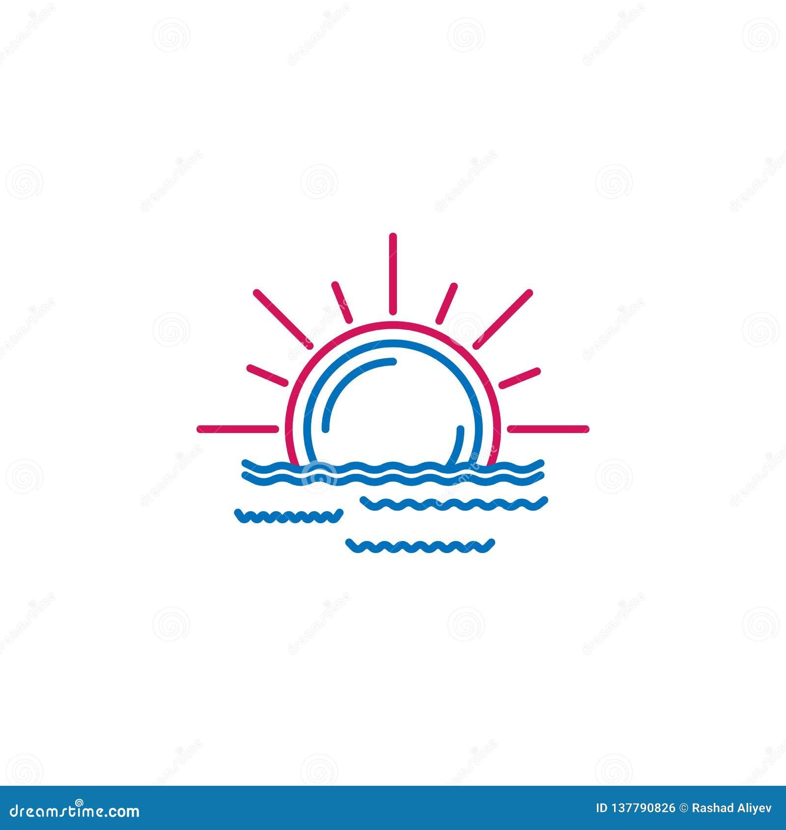 Islam, Ramadan sunrise 2 colored line icon. Simple blue and red element illustration. Islam, Ramadan sunrise concept outline