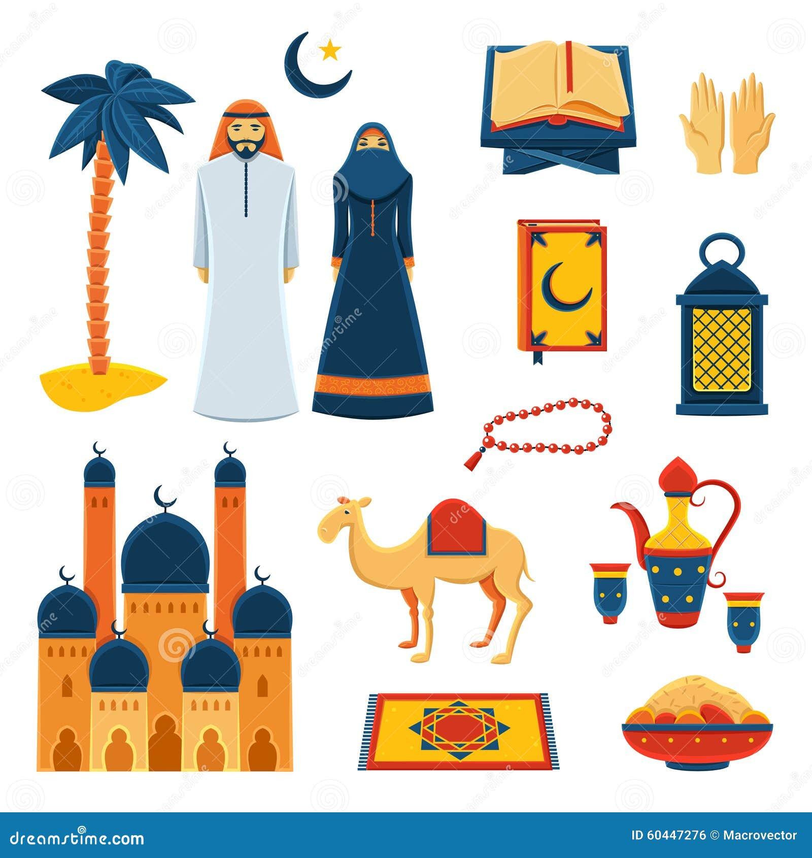 Religious Flat Acrylic: Charity Decorative Icons Set Cartoon Vector