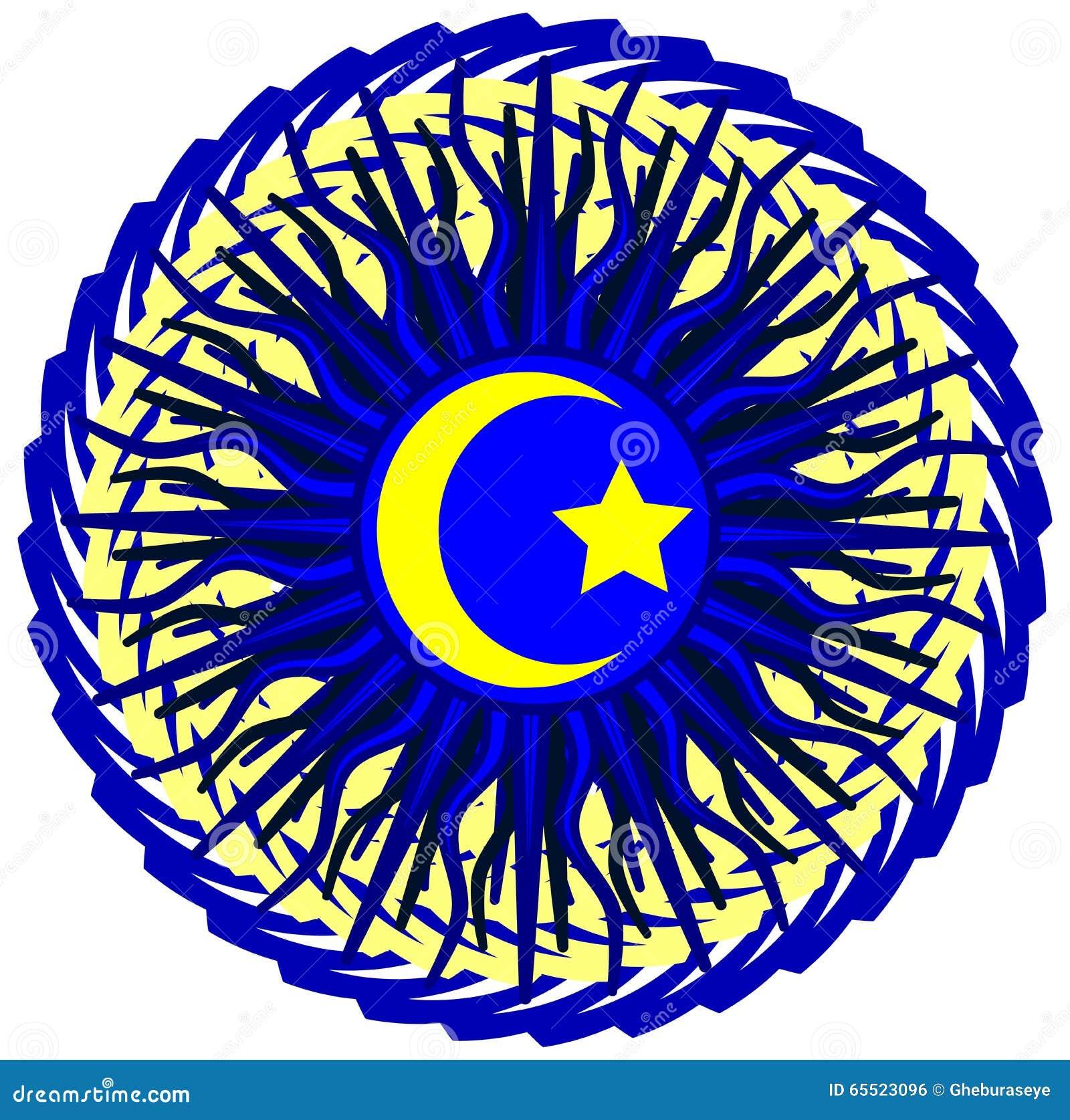 Islam Symbol On An Artistic Blue Decoration Stock Vector