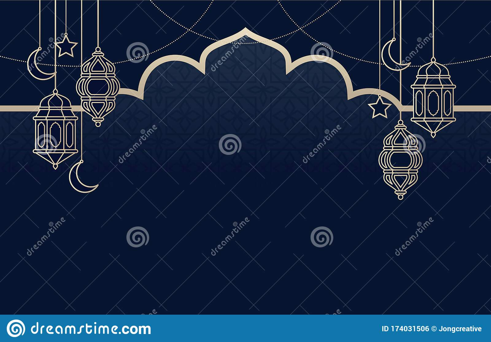 Islamic Arabic Lantern For Ramadan Kareem Eid Mubarak Background Stock Vector Illustration Of Glowing Frame 174031506