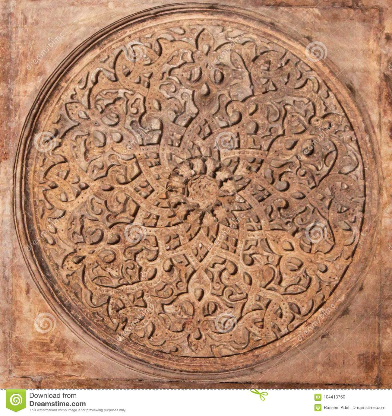 Arabian oriental artistic ornamental carvings stock photo image