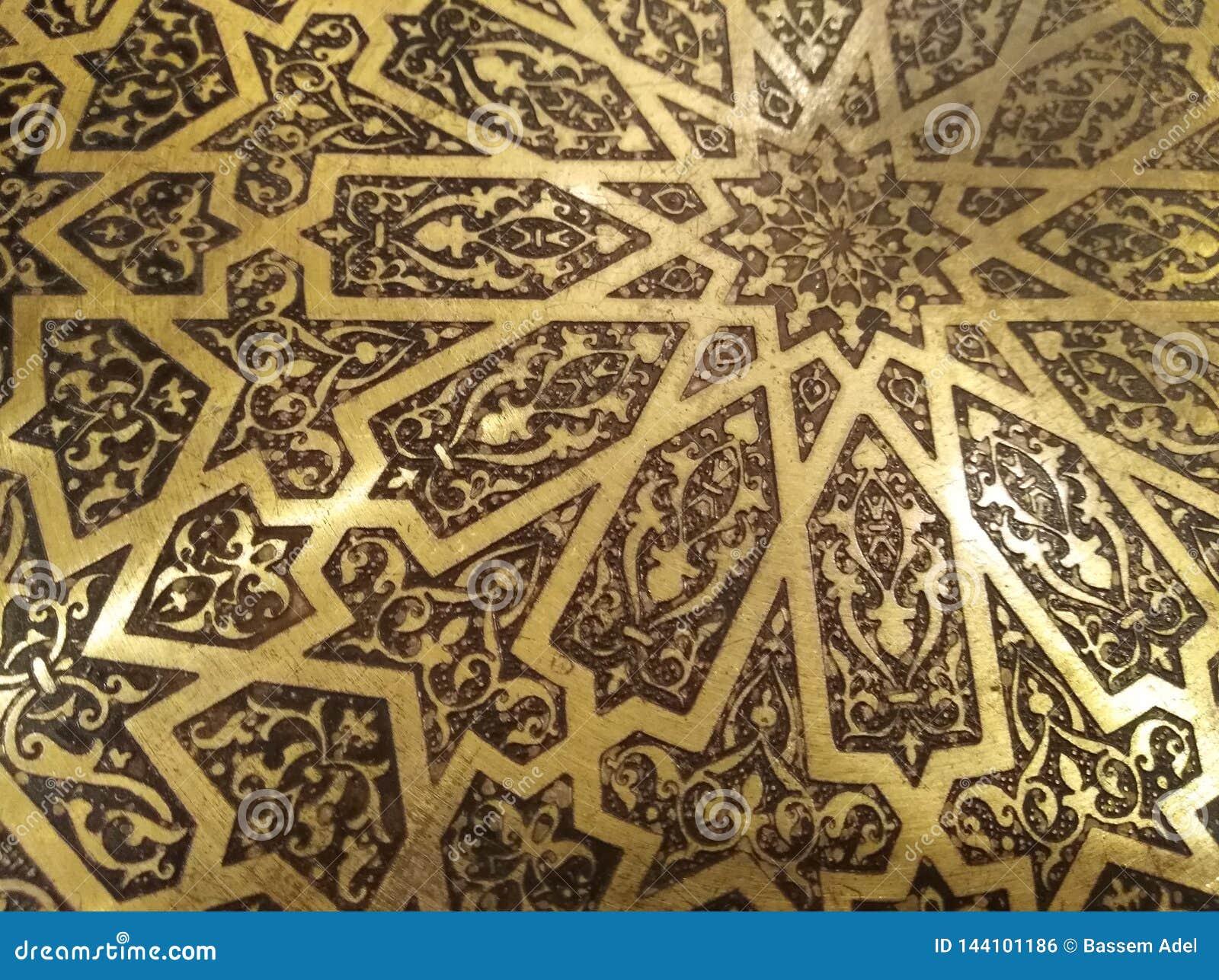 Golden Arabian Oriental Artistic Ornamental carvings