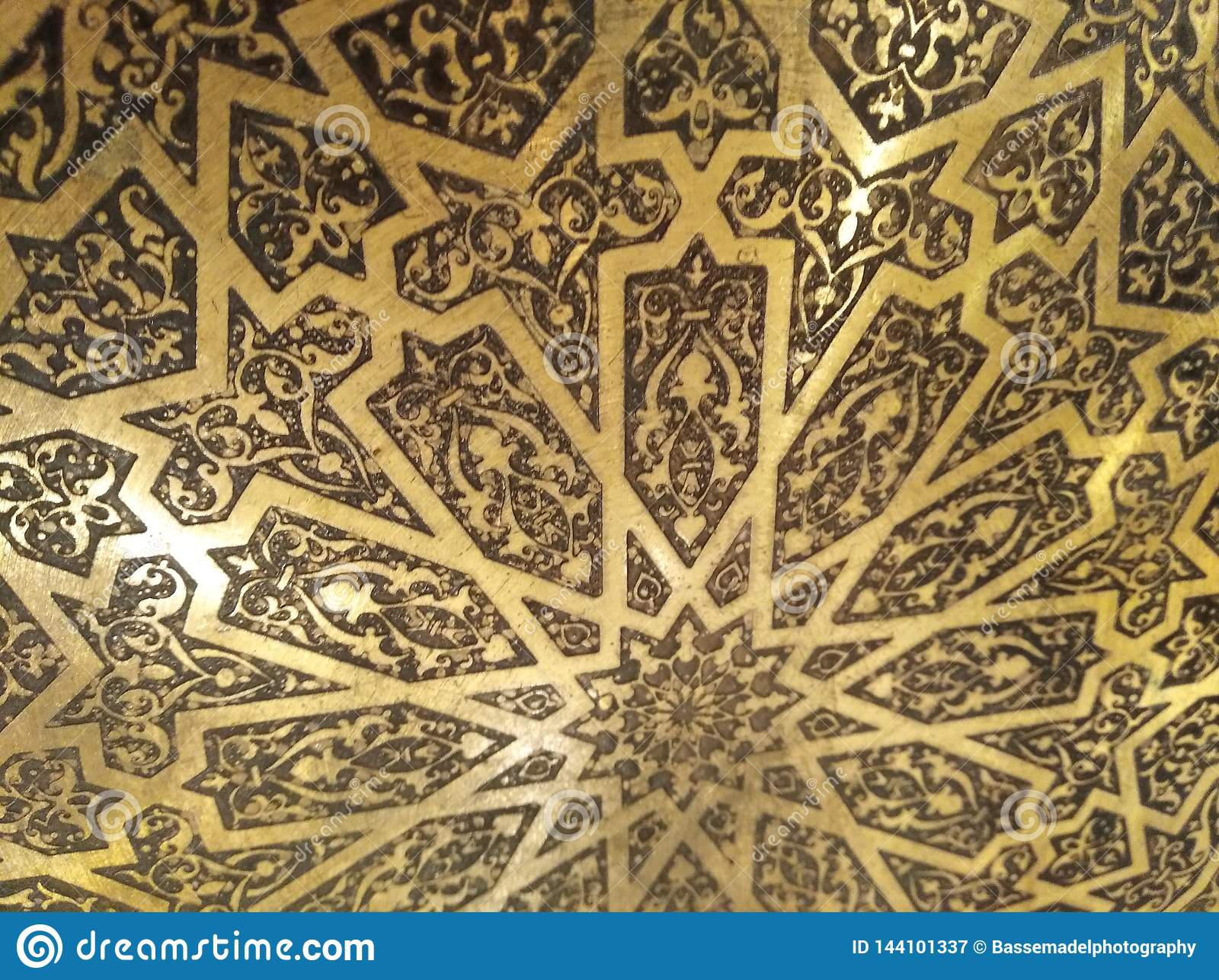 Golden Arabian Oriental Artistic Ornamental carvings
