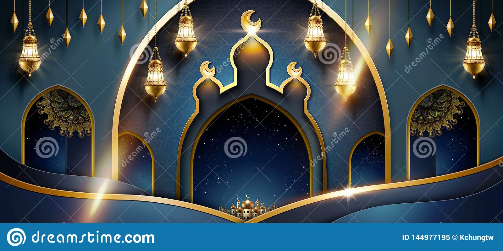 Islamic Art Background Stock Vector. Illustration Of Color - 144977195