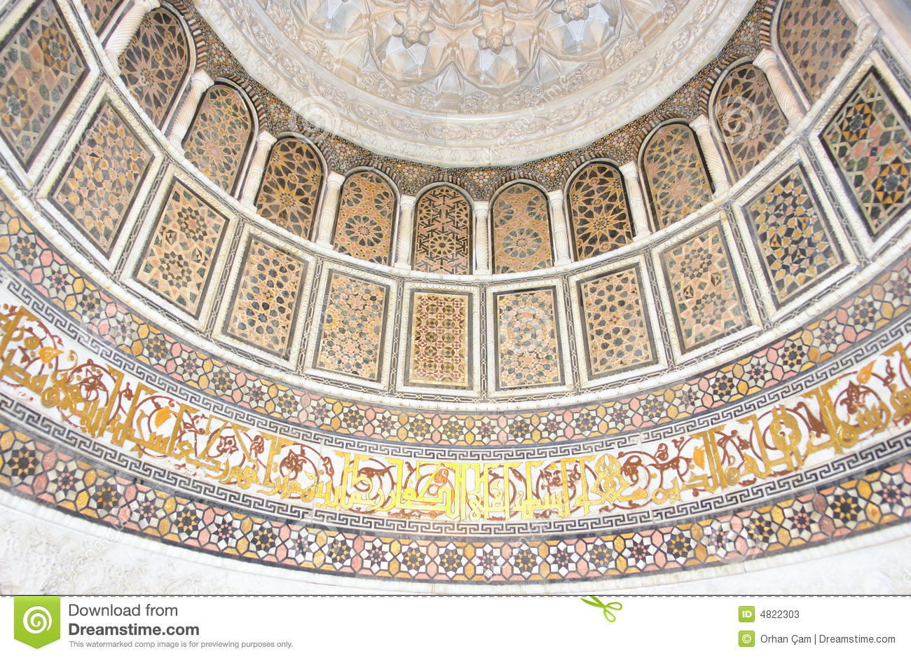 Islamic Art Patterns On A Historic Mosque Wall Stock