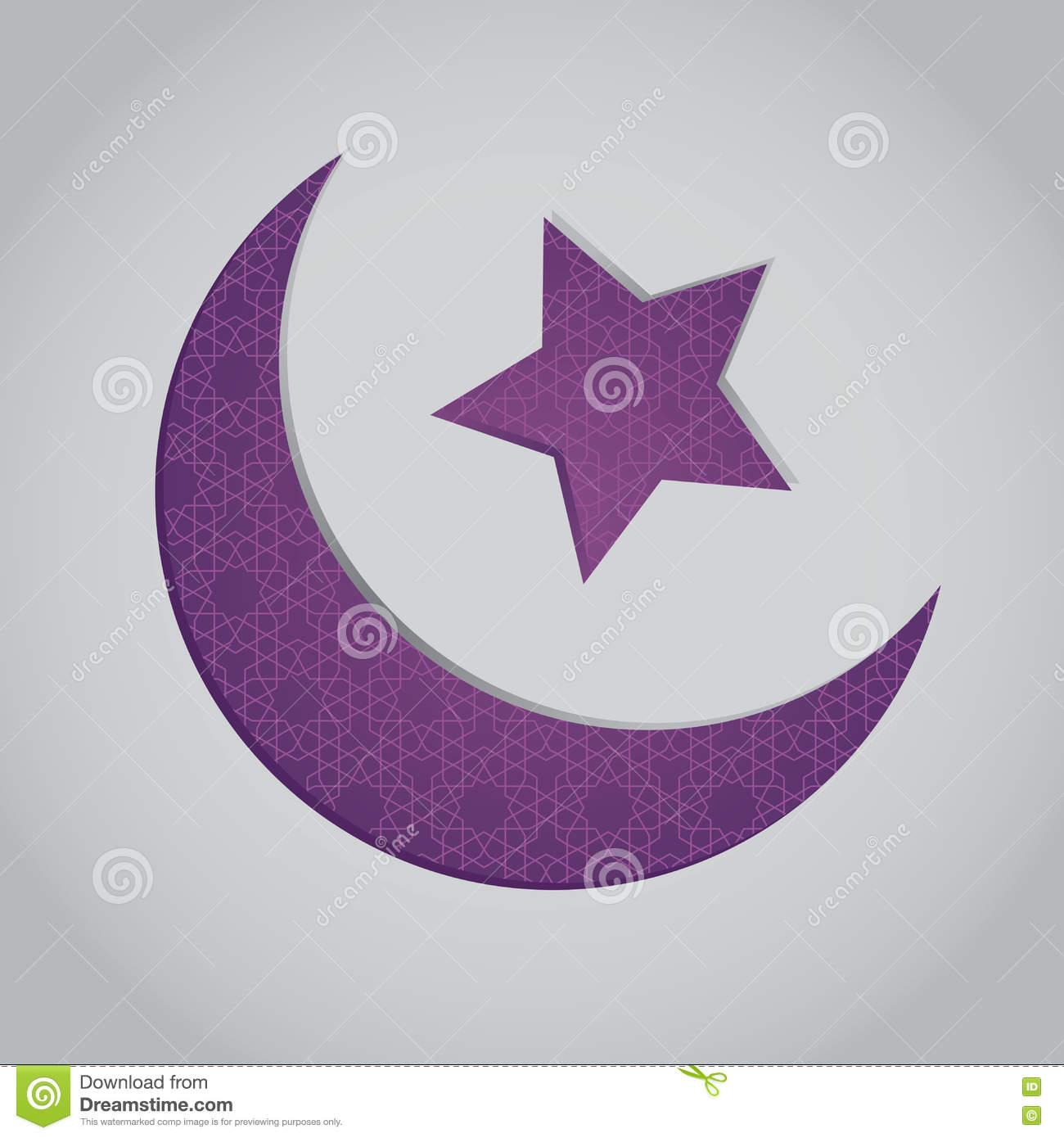 islamic crescent moon and star with arabic pattern background