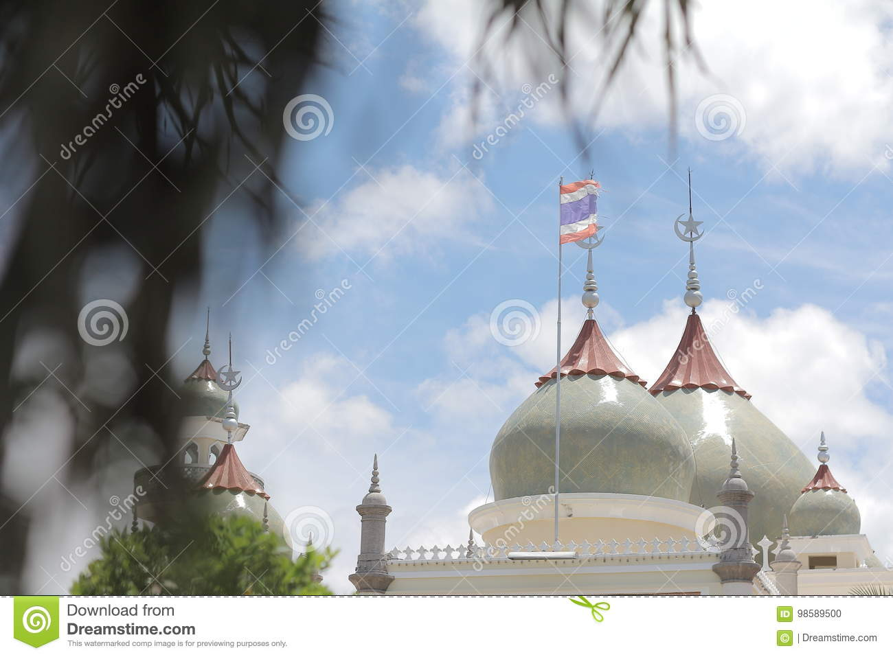 Dome Masjid Mosque pattani Art beautiful Islamic design sky and clouds