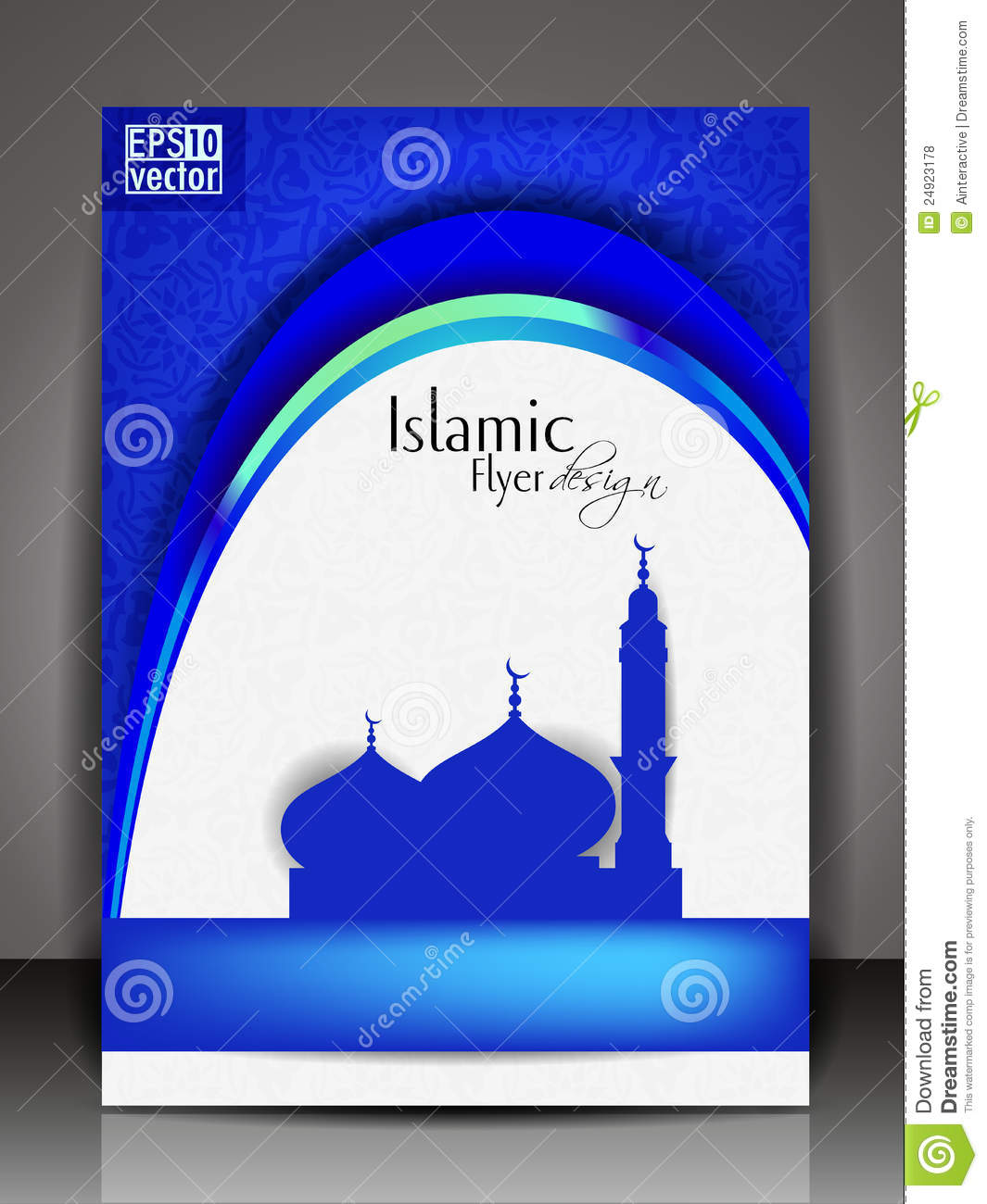 islamic flyer or brochure and cover design stock vector