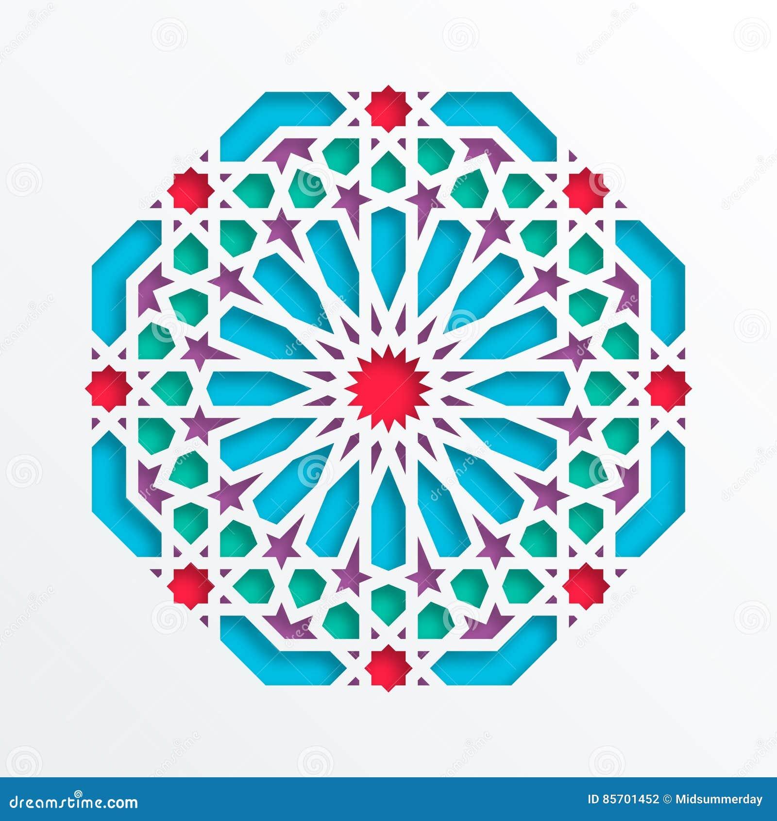Islamic Geometric Pattern Vector 3d Muslim Mosaic