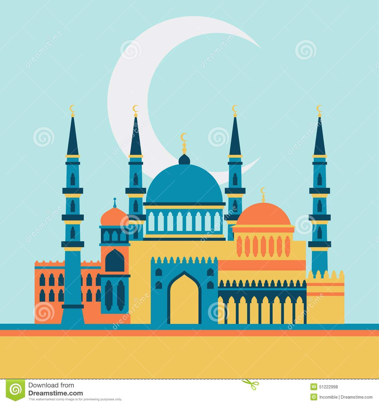 Islamic Greeting Card With Mosque In Flat Design Stock