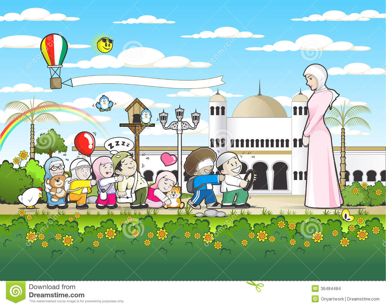 Islamic Kindergarten School Stock Illustration ...