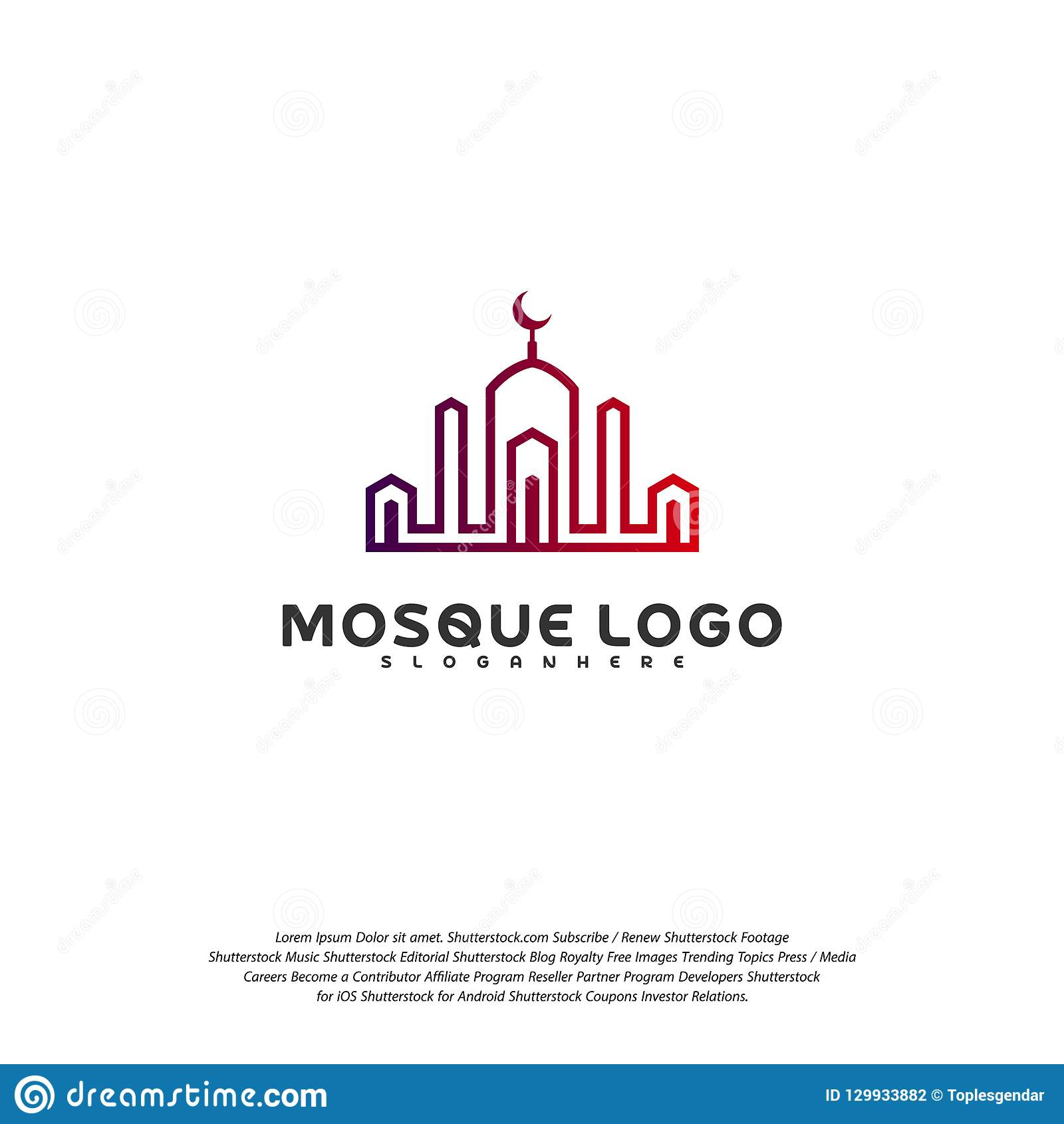 Islamic Logo Design Vector Mosque Logo Template Muslims Learn Logo Templates Stock Vector Illustration Of Element Abstract 129933882
