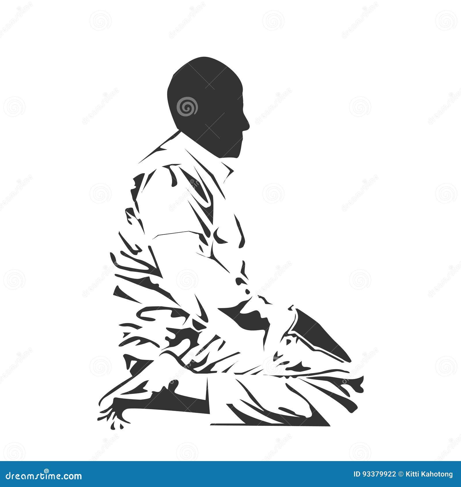 islamic man praying muslim prayer stock illustration illustration