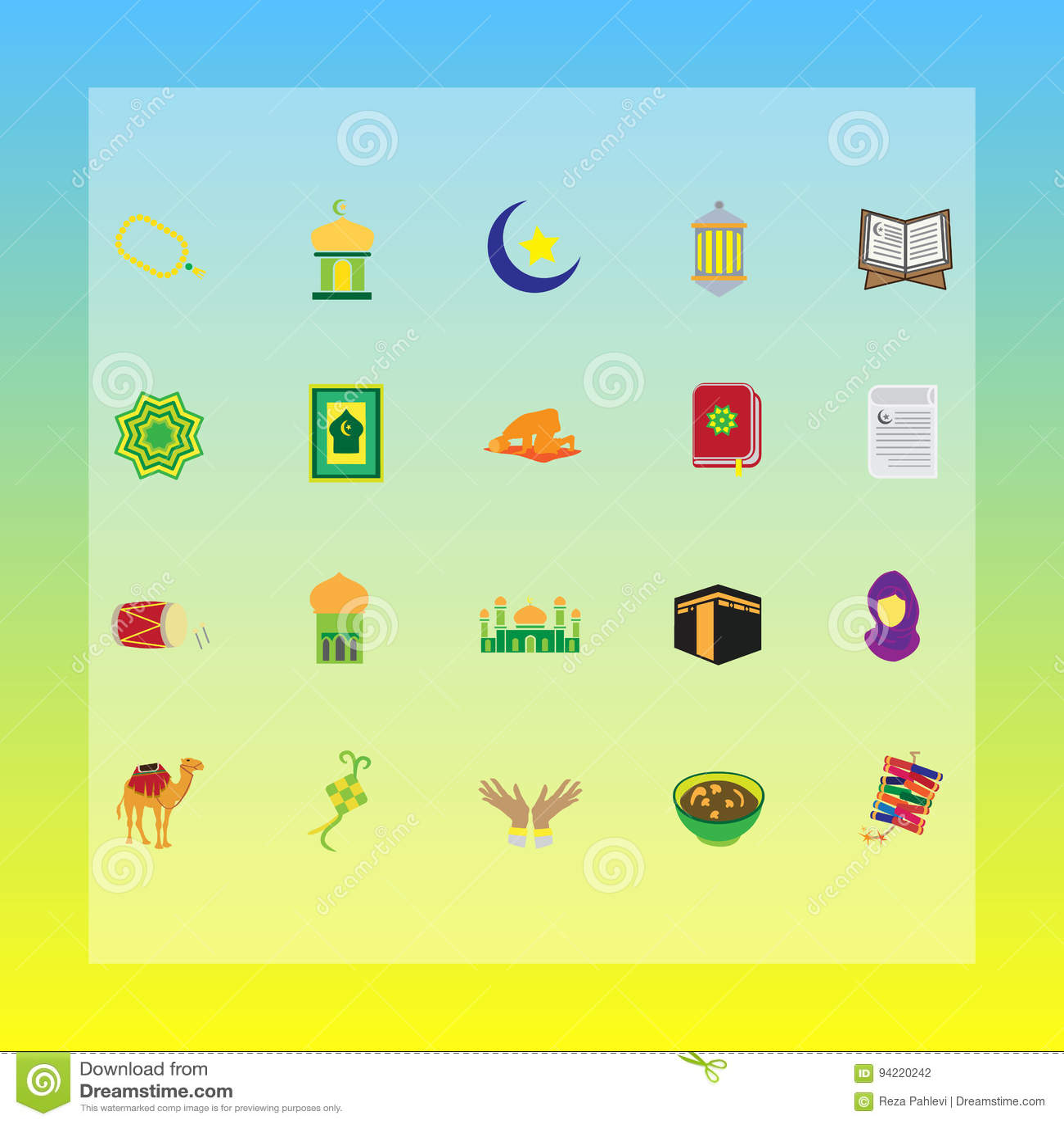 Islamic Muslim Concept Flat Icons For Ramadhan Hajj Eid Mubarak
